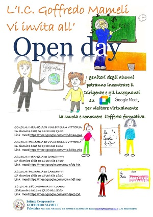 """16-17-18 dicembre 2020 """"Open day"""""""